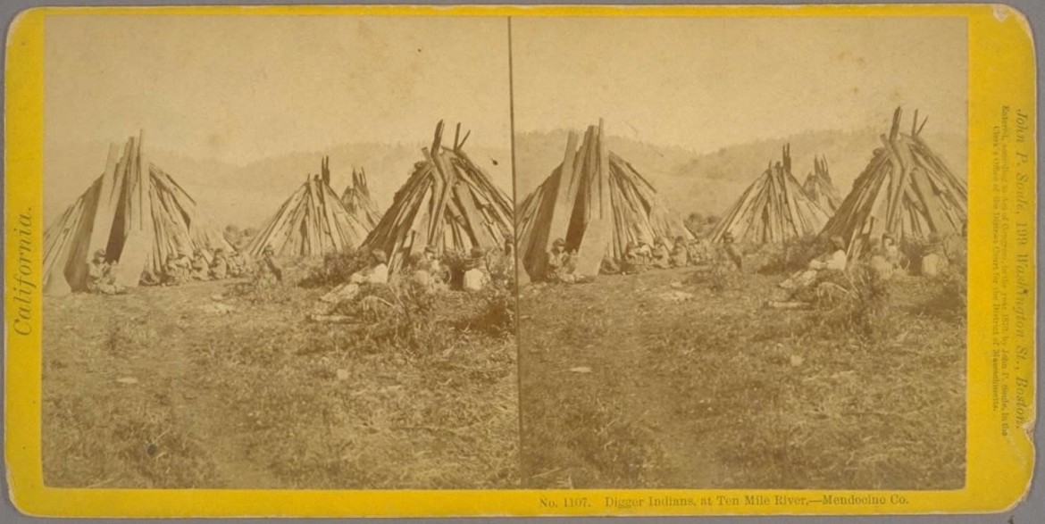 Stereoscope image of indian settlement in Mendocino County, 1870