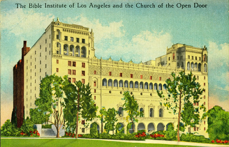 The Bible Institute of Los Angeles and the Church of the Open Door was located on Hope Street, immediately below the Los Angeles Central Library downtown. It was the predecessor institution of Biola University. Image circa 1930-1940  from a postcard in Werner von Boltenstern Postcard Collection, Department of Archives and Special Collections, William H. Hannon Library, Loyola Marymount University.