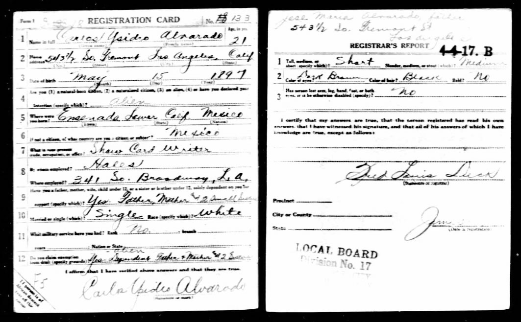 Carlos Alvarado's Draft Card for World War I