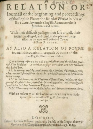 Mourt's Relation, an early history of Plymouth Colony ascribed to George Morton