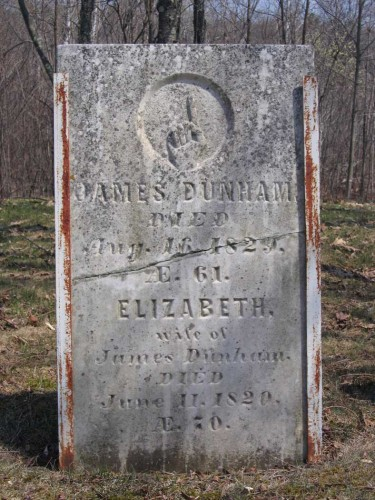 Gravestone of James Dunham (1758-1829) and Elizabeth Robbins (1758-1820) in Carmel, Penobscot, Maine