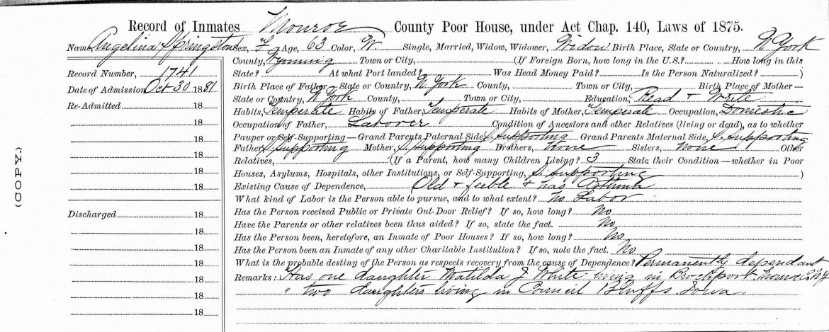 New York Census of Inmates in Almshouses and Poorhouses,1830-1920, For Angelina Springston