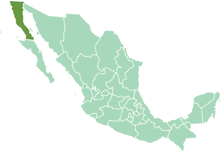Location of Baja California in modern México