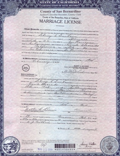 Marriage Certificate, Sumner Earl Dunham and Lucile Alvarado, 1924