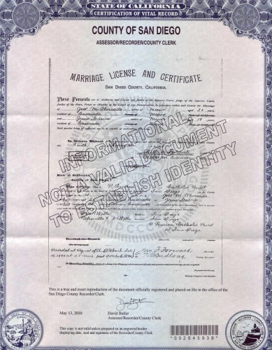 Marriage Certificate, Jose María Alvarado and Jesus Garcia, 1895