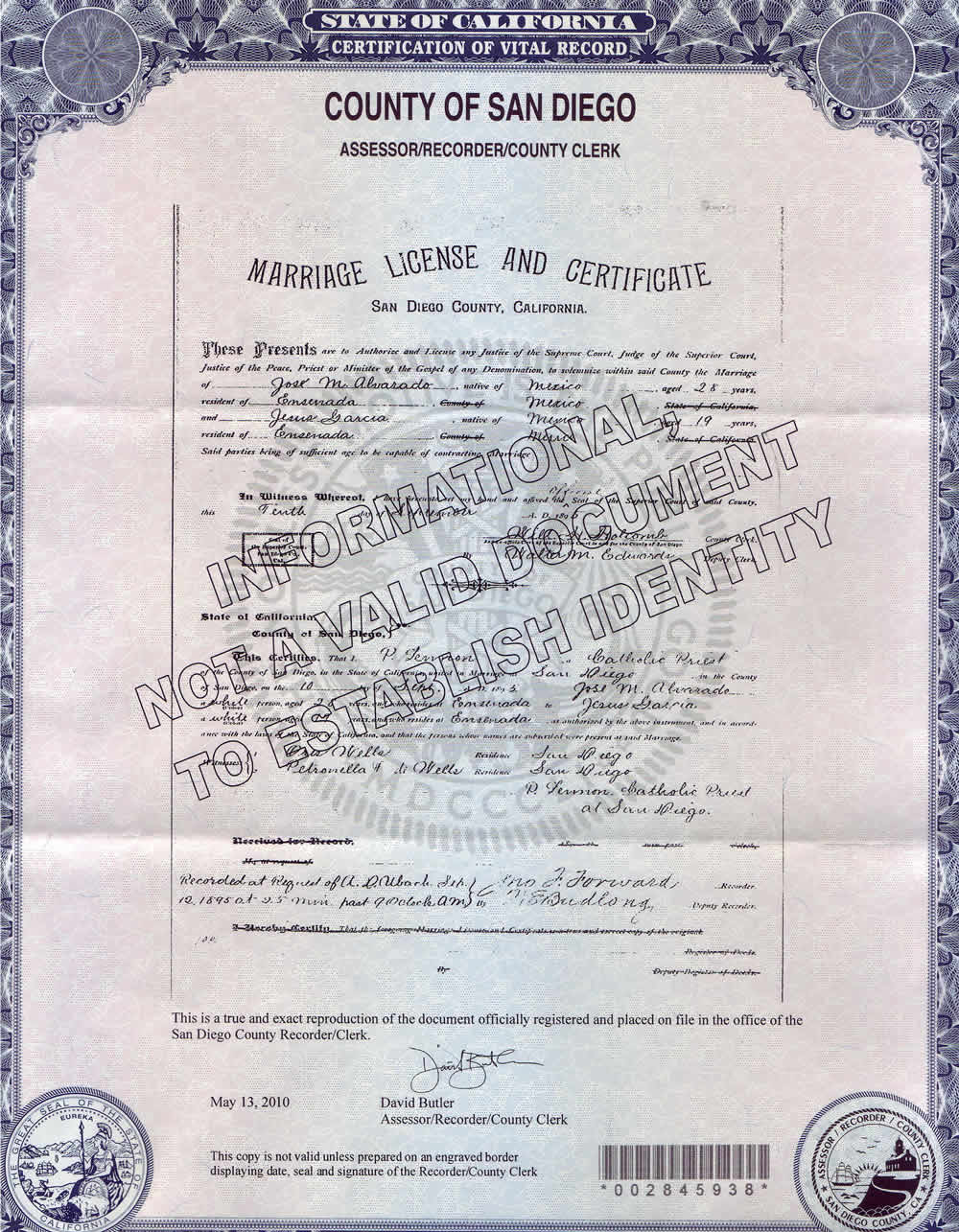 marriage certificate jose mara alvarado and jesus garcia 1895