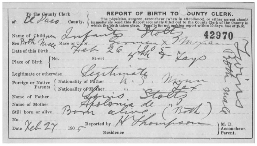 Birth Record of Stoltz Twins, 1905