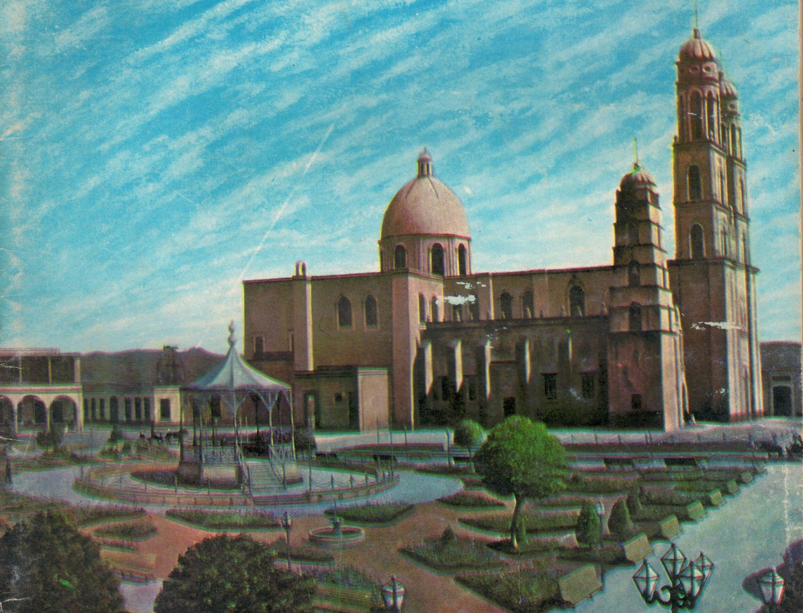 Undated photograph of the Cathedral Basilica of Our Lady of the Rosary, Culiacán, completed 1885, with previous cathedral still standing next to it