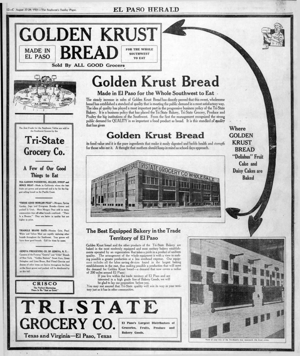 Ad for Tri-State Grocery, El Paso Herald, 27 Aug 1921