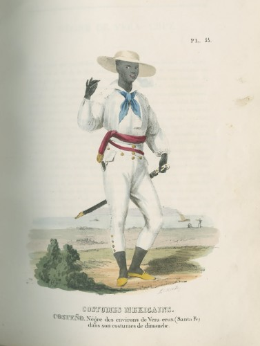 Person from the Coast. Negro from the Area of Vera-Cruz (Santa Fe) in Sunday Dress, Claudio Linati. From Costumes et moeurs de Mexique [Dress and Customs of Mexico], 1830