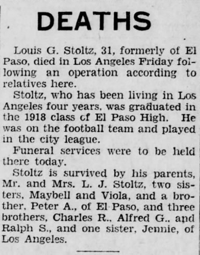 Death Notice of Louis G. Stoltz, El Paso Evening Post, 3 Nov 1928