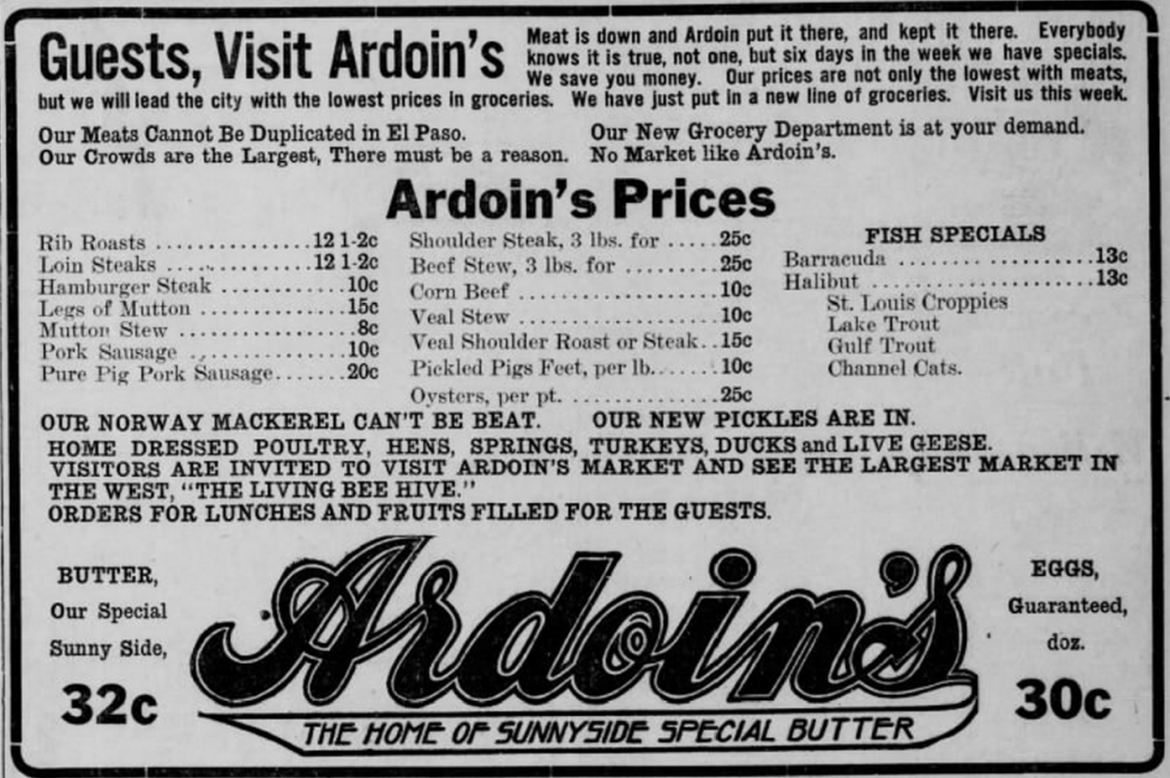 1911 newspaper ad for Ardoin's Market, where Louis Stoltz worked.