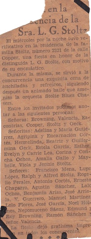 Society article about  a Stoltz family party (1920s?)