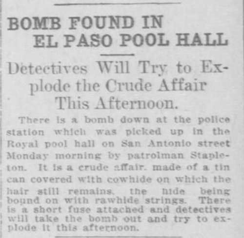 El Paso Herald, 6 May 1912; Louis Stoltz was likely working at this establishment at the time.