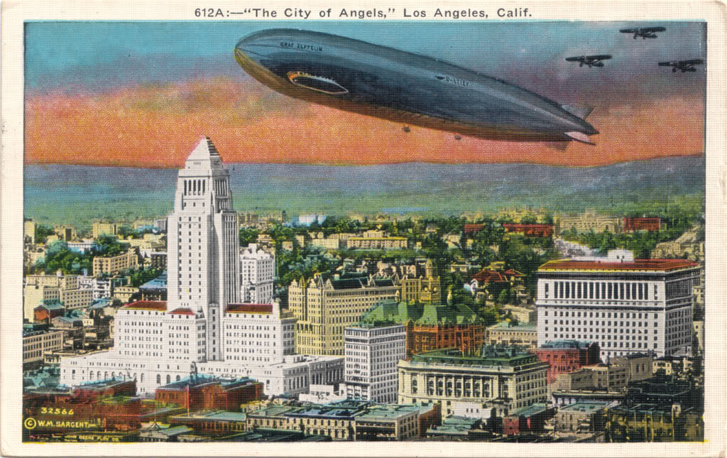 Postcard depicting Graf Zeppelin over Los Angeles during its 1929 world tour.