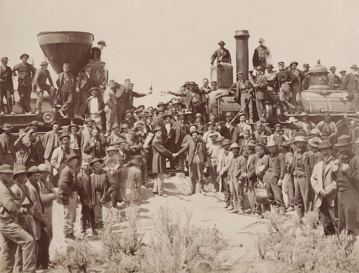 "At the ceremony for the driving of the ""Last Spike"" at Promontory Summit, Utah, May 10, 1869"