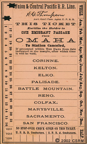 1871 ticket for the transcontinental railroad, courtesy California State Railroad Museum Library at sacramentohistory.org