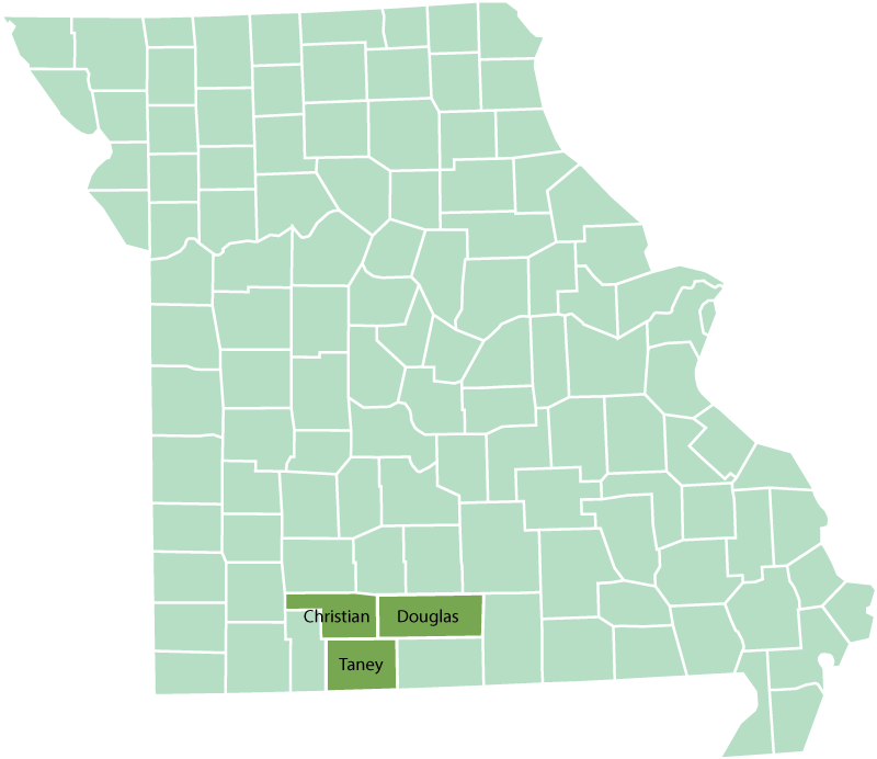 Missouri counties associated with the life of William Ivans and family.