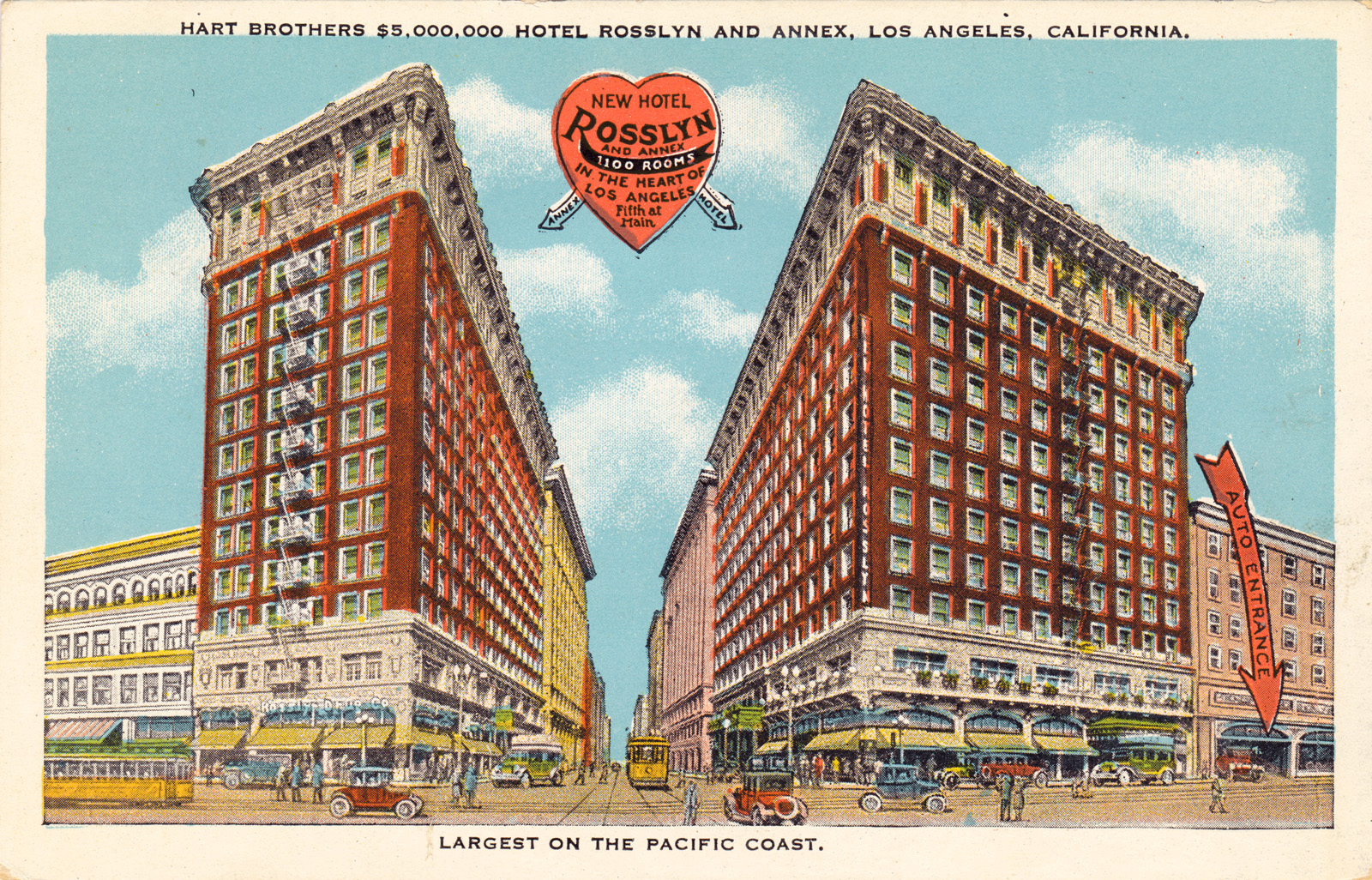 Postcard of the Rosslyn Hotel, still remaining in downtown Los Angeles as affordable housing.