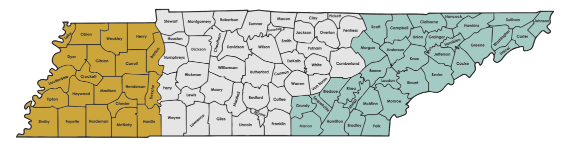 The Grand Divisions of Tennessee: West, Middle and East