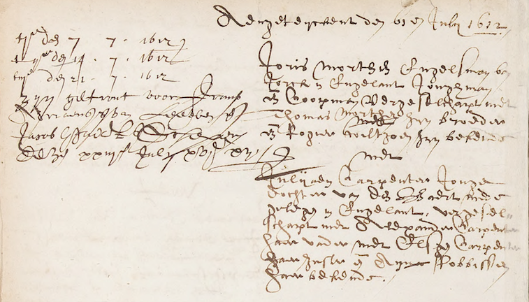 Detail of marriage record of George Morton and Juliana Carpenter