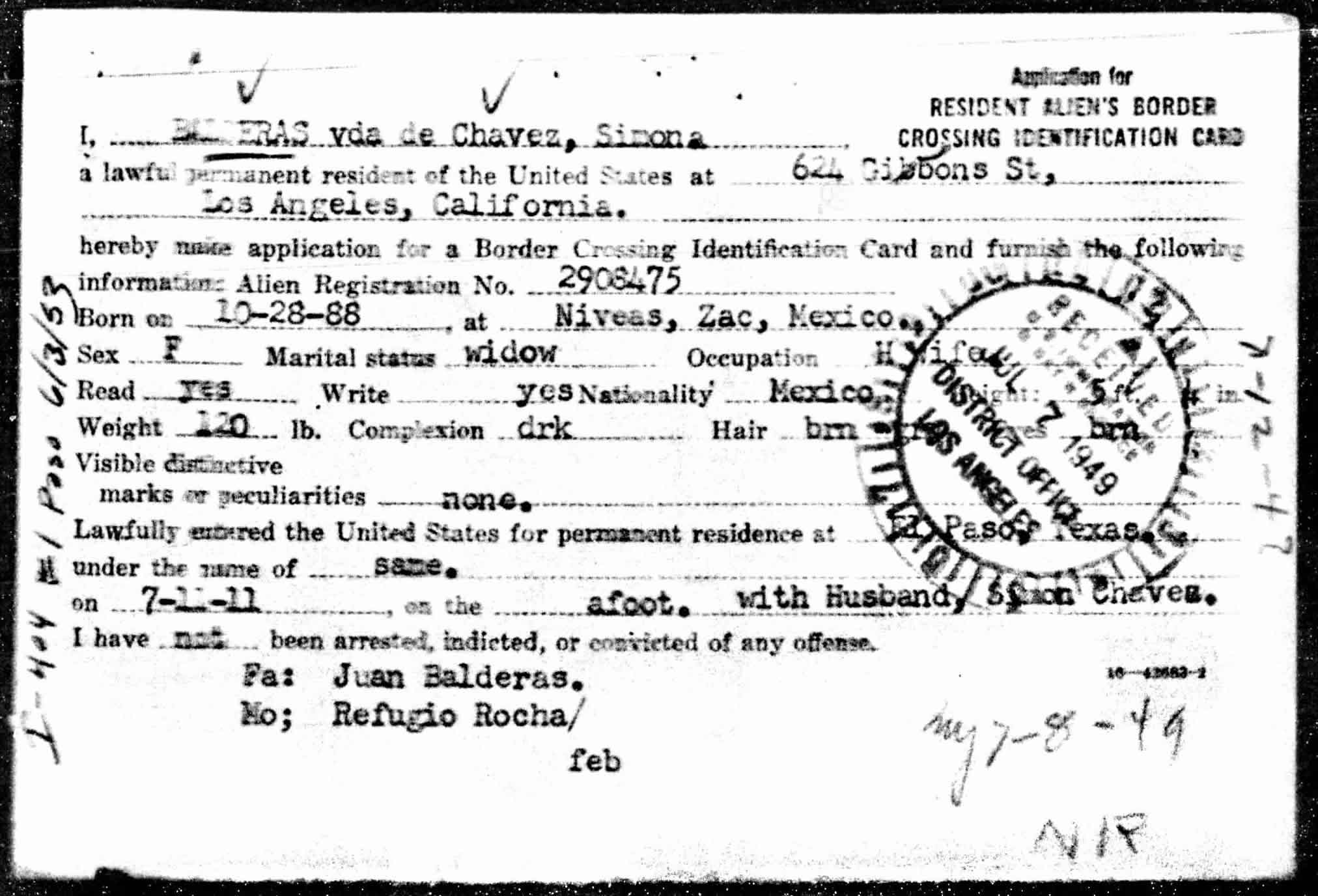 1949 Resident Alien's Border Crossing Identification Card for Simona Chávez