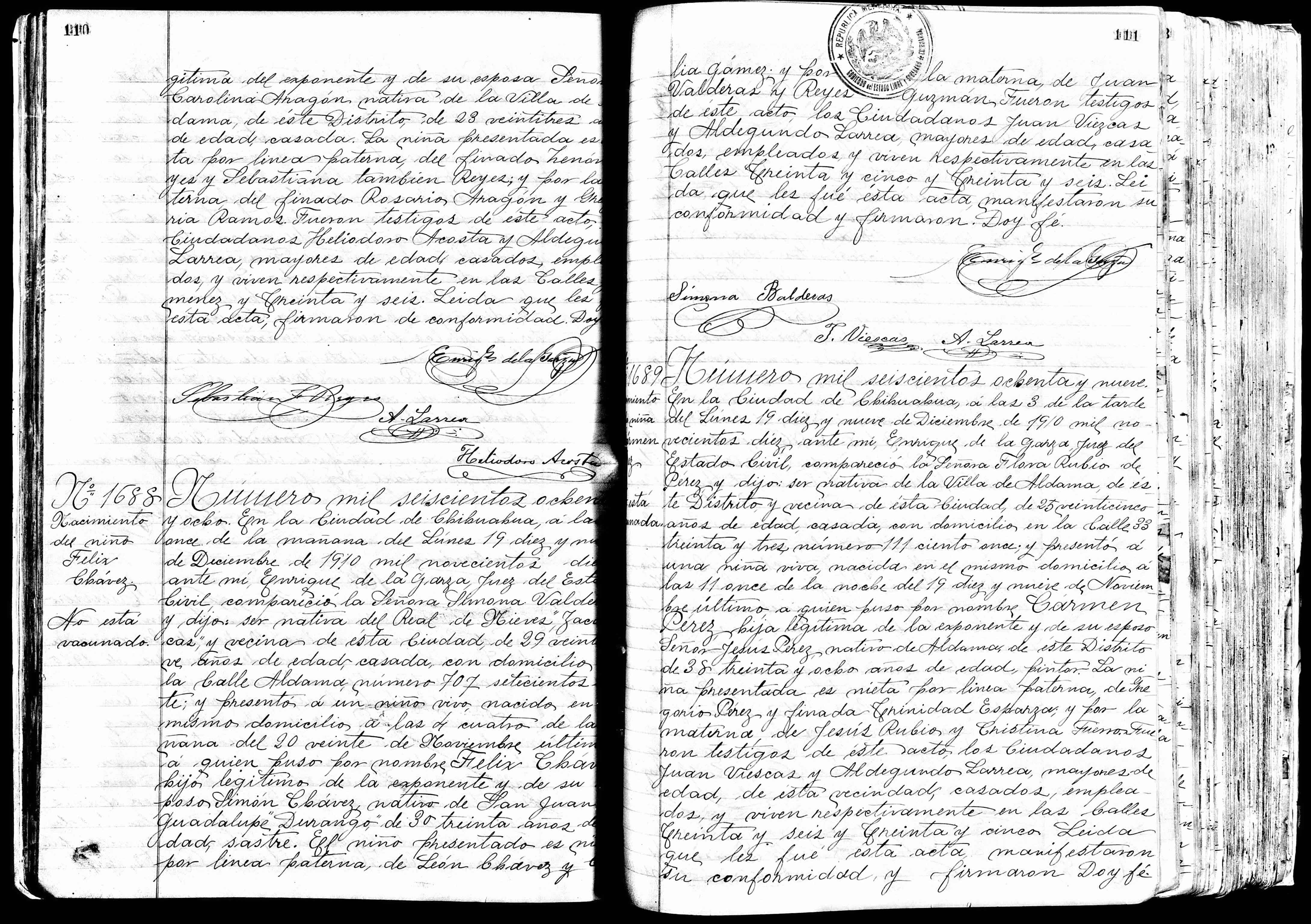 Chihuahua birth record of Felix Chávez Sr.