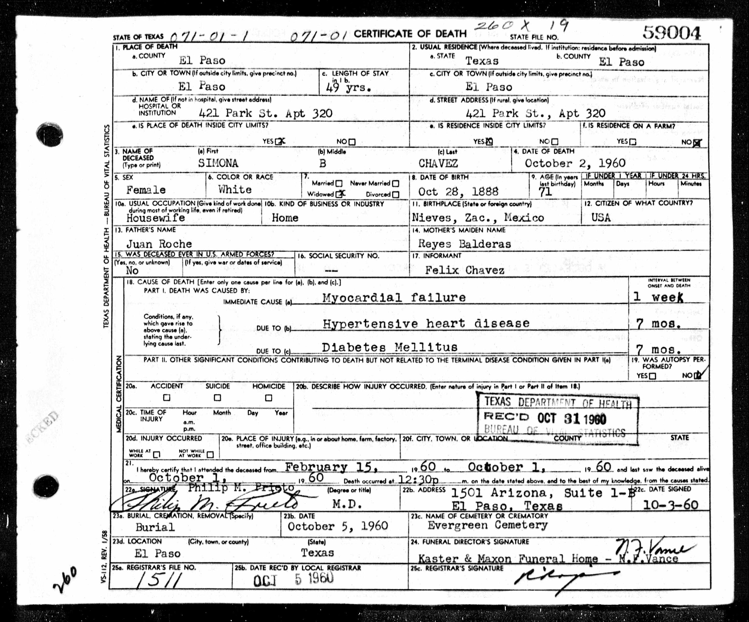 Simona Chávez Death Certificate